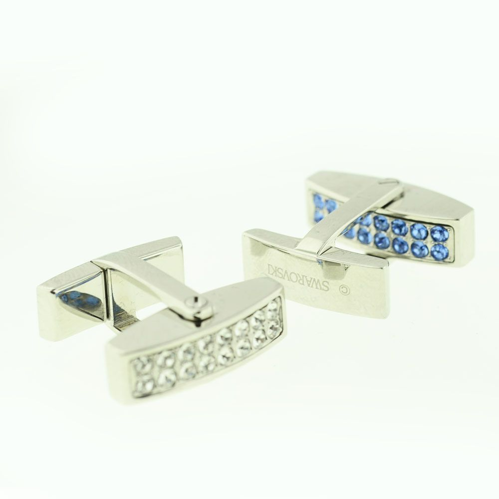 Swarovski Blue & White Stone Reversible Stainless Cufflinks