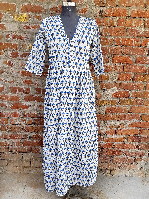 Hand Block Printed Dress Block Print Dress Indian Tunics Etsy Print Dress Indian Tunic Cotton Wrap Dress [ 3000 x 2250 Pixel ]