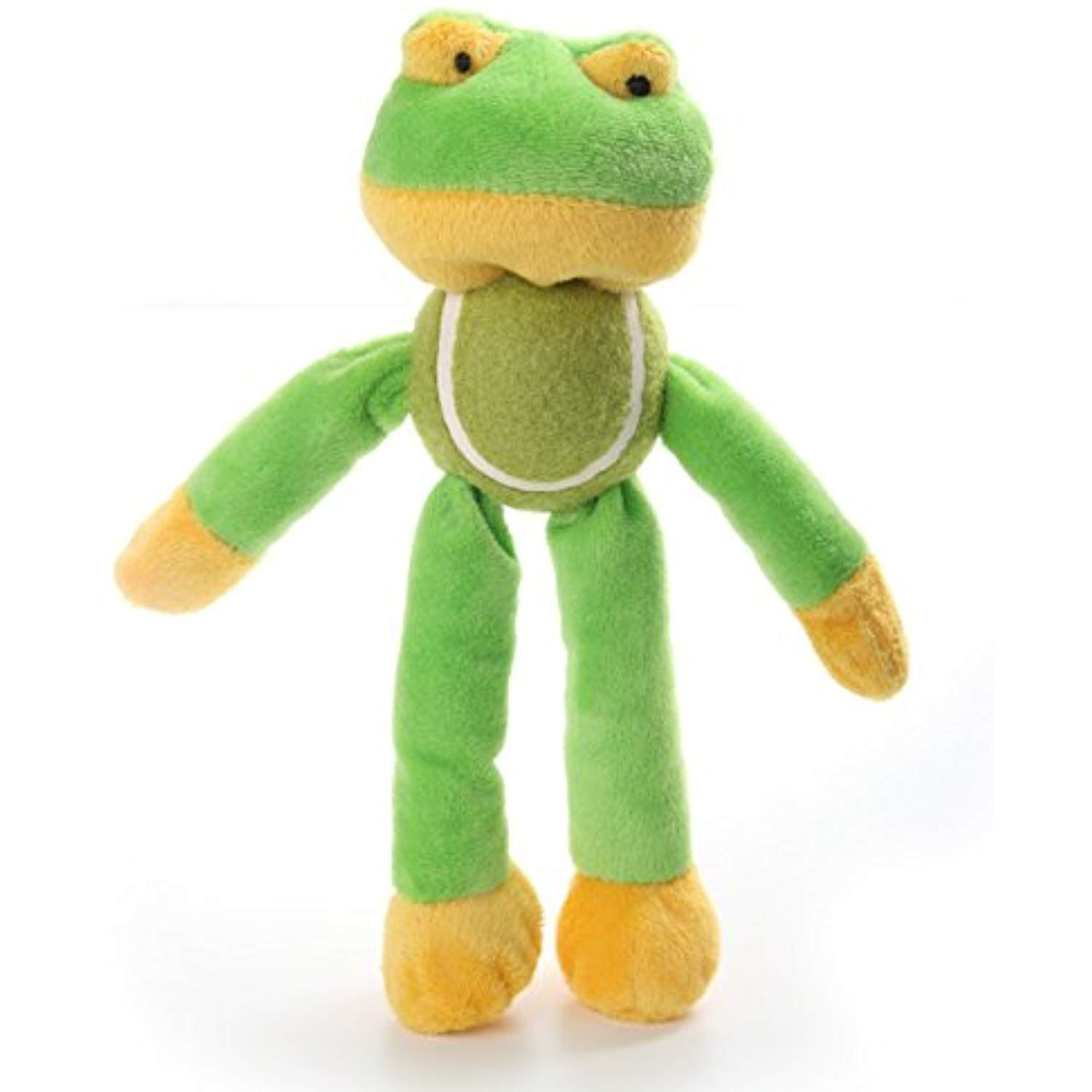 Dogloveit cutie frog plush toy with tennis ball chew squeaky toy for