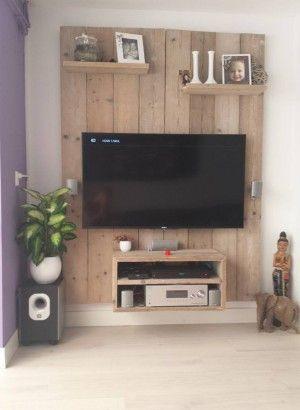 Cheap Super Gave Tvkast Van Steigerhout Zelf Gemaakt With Tv Rack Wand
