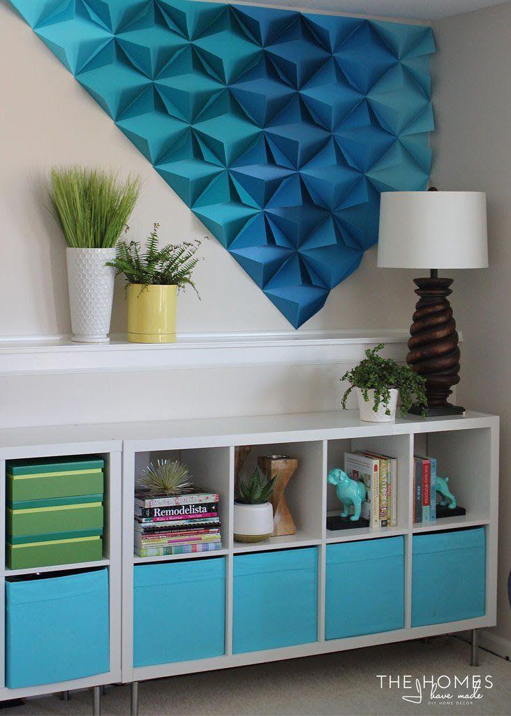 Renter-Friendly 3D Paper Wall Art | Origami wall art, Unique wall decor, Diy wall