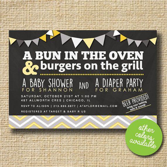 Couples Baby Shower Invitation Co Ed Invite Diaper