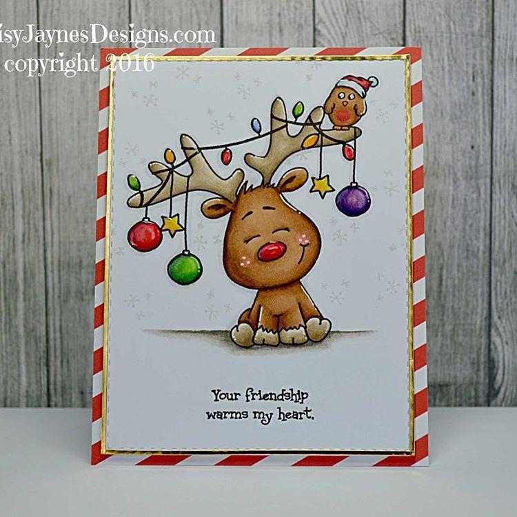 """Jayne Palmer on Instagram: """"Here's a fun card using an image from @gsdstamps November bundle #christmas #reindeer #gerdasteinerdesigns #bundles #daisyjaynesdesigns"""" #reindeerchristmas"""