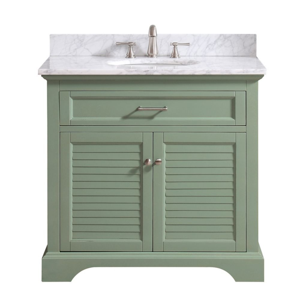 Colton 37 Inch Vanity Combo Only In Basil Green With Carrera White Marble Top Marble Vanity Tops Vanity Combos Single Sink Bathroom Vanity