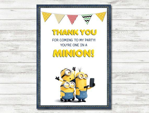 graphic relating to You Re One in a Minion Printable named Minions Thank Yourself Playing cards, Minions Occasion, Minions Printable