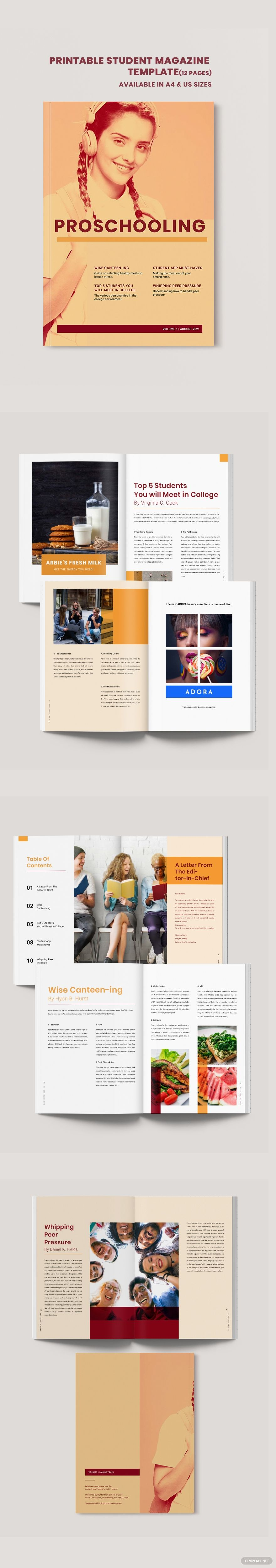 Printable Student Magazine Template Free Publisher Indesign Word Apple Pages Template Net Student Magazines Magazine Template Student Magazine template for microsoft word