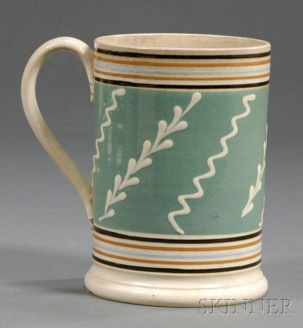 Mochaware Quart Mug Britain C 1830 Pearlware M Lot 161 Mugs And Jugs Ceramic Decor Creamware