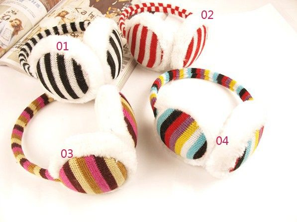 Pretty Alternate Stripe Rainbow Ear Muff - Hats - Accessories Free shipping