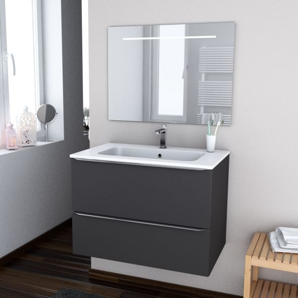 Ensemble salle de bains Meuble GINKO Gris Plan vasque résine, Miroir