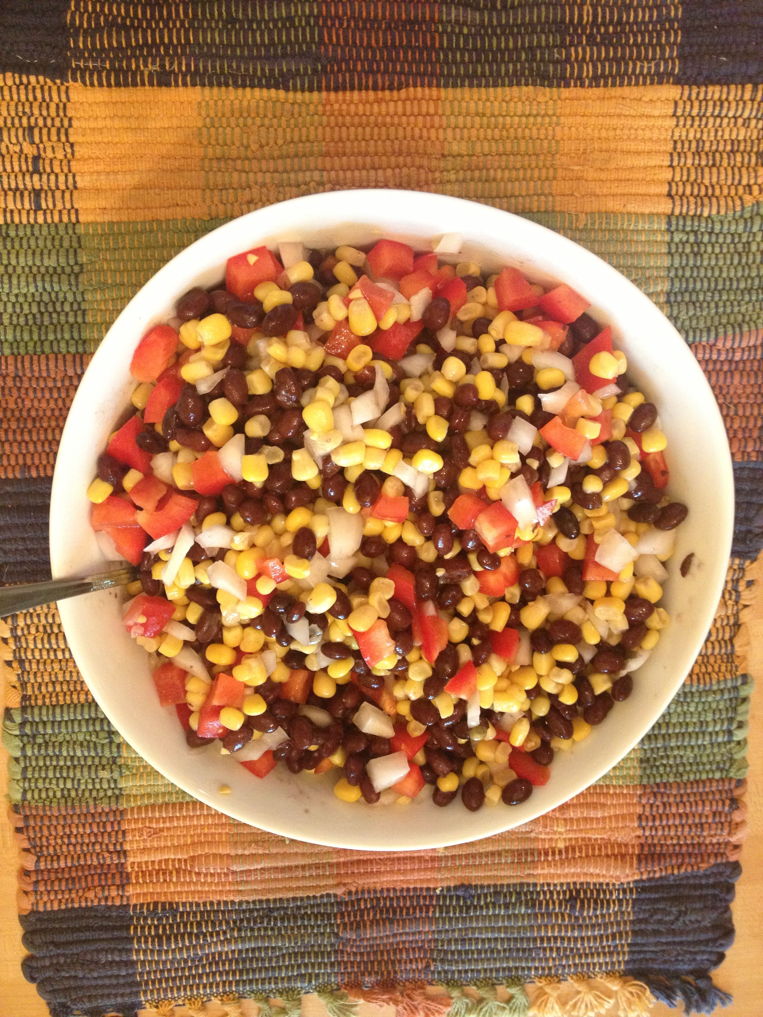 Black Bean and Corn Salsa. 1 can black beans, drained. 1 can corn, drained. 1 red pepper, chopped. 1 small white onion, chopped. 3 tablespoons apple cider vinegar and 3 tablespoons olive oil. Mix and serve with tortilla chips. Enjoy!
