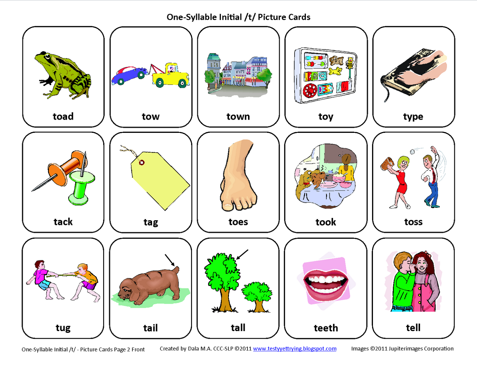 Initial T Free Speech Therapy Articulation Picture Cards