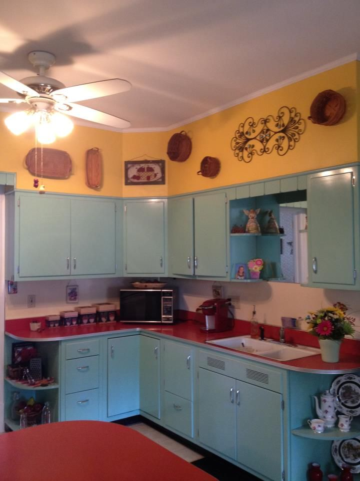 My 50 S Style Kitchen Original Cabinets And Counter New Paint
