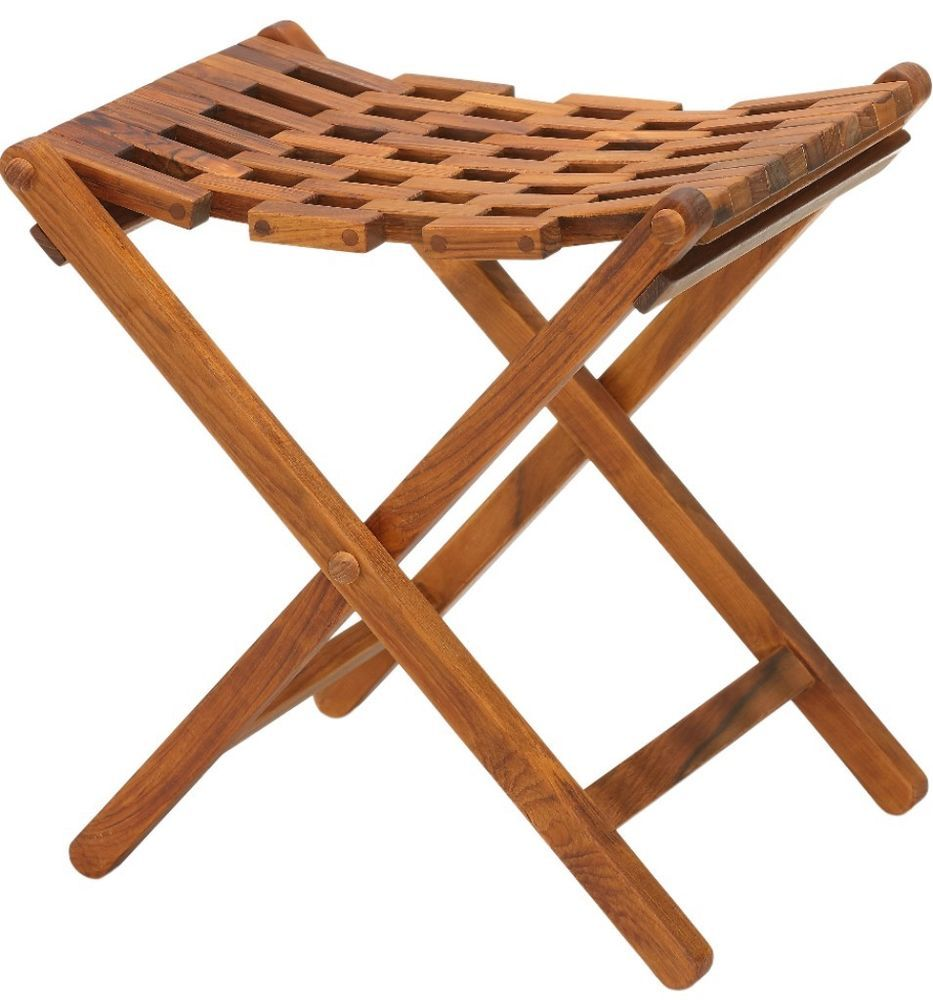 Solid Teak Wood Lightweight Folding Shower Stool Bathroom Chair ...