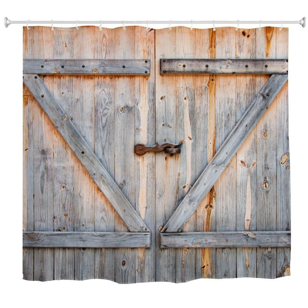 The Old Wooden Door Polyester Shower Curtain Bathroom Curtain High Definition 3d Printing Water Proof Wooden Garage Doors Rustic Decor Curtains Living Room Decor Rustic