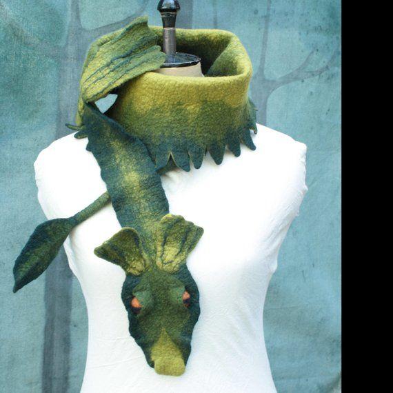 Drachen-Schal - grüner Drachen Schal - Hand gefilzt Wolle Drache - grüner Drache