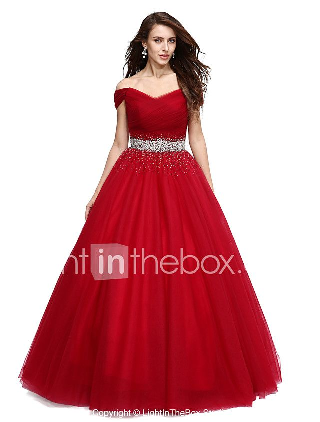 Ball Gown Off Shoulder Floor Length Tulle Formal Evening Dress With
