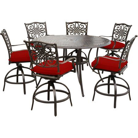 Surprising Hanover Traditions 7 Piece High Dining Set In Red With 6 Andrewgaddart Wooden Chair Designs For Living Room Andrewgaddartcom