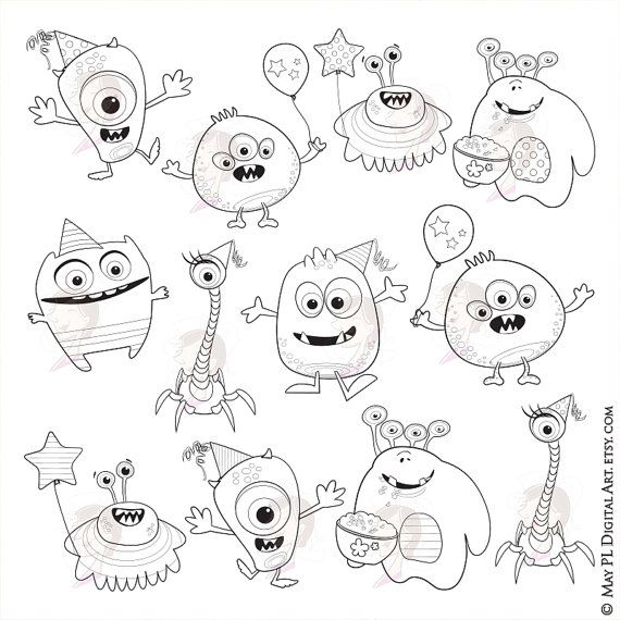 Little Monsters Clipart Digital Stamps Cute Monsters Great Etsy Monster Coloring Pages Monster Clipart Digital Stamps