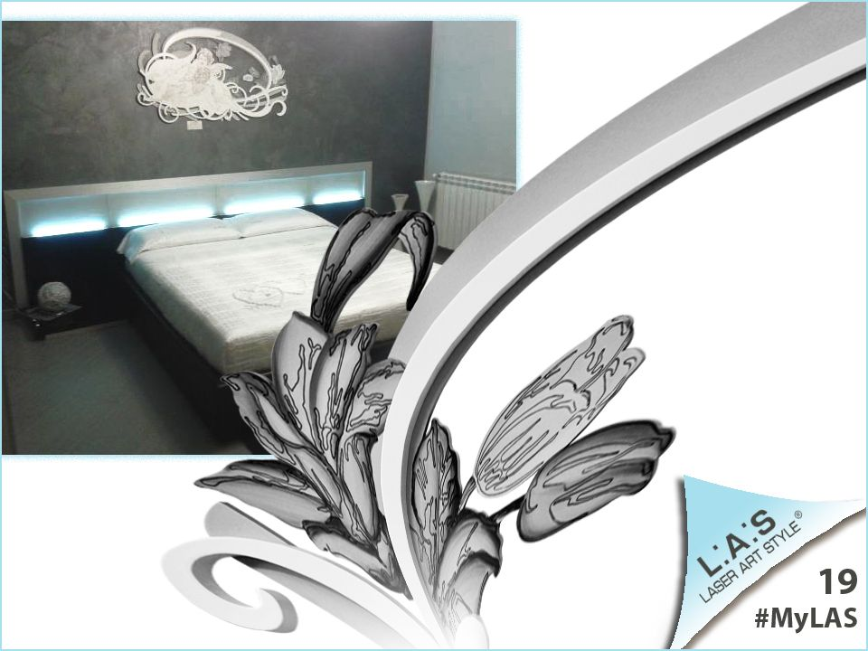 #MyLAS Welcome to Valeria's #home! #bedroom #design #homeinspiration http://www.laserartstyle.it/home/gallery/my-las/ SACRED WALL SCULPTURES | CODE: SI-203 | SIZE: 123x73 cm | COLOUR: silver and white | DECORATION: black and silver