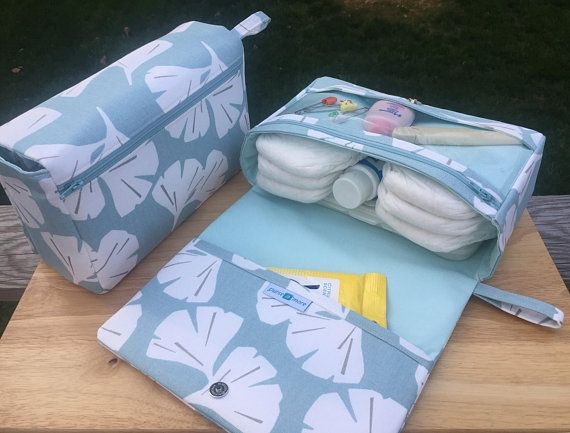 Ginkgo leaf diaper bag organizer, new parents gift, diaper clutch, nappy bag with clear zipper pouch #parenting