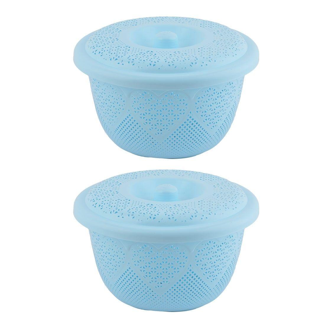 Home Plastic Fruit Vegetable Washing Colander Strainer Basket Light Blue 2 Pcs