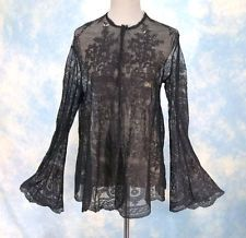 Victorian 1860s Antique Chantilly Lace Bed or Dressing Jacket