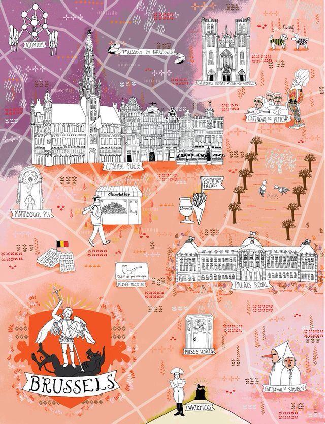 Illustrated Map Brussels Belgium Travel Illustrated Map Brussels Belgium