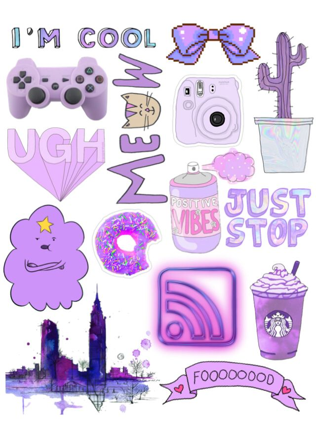Purple Tumblr Collage 3 Girly In 2019 Aesthetic Stickers