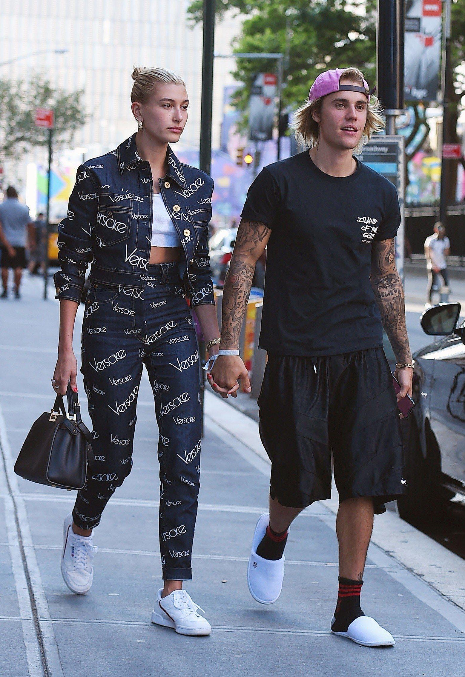 Hailey Baldwin: Versace Denim Jacket & Jeans | Steal Her Style