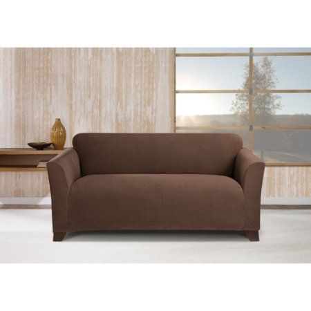stretch morgan 1 piece sofa furniture cover stanley online loveseat chocolate brown
