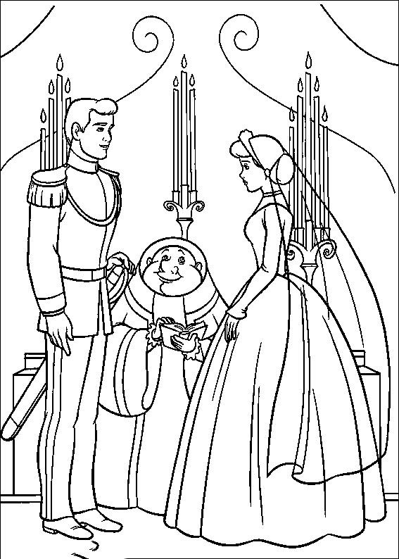 Cinderella Married With Prince Charming Coloring Pages For Kids Printable