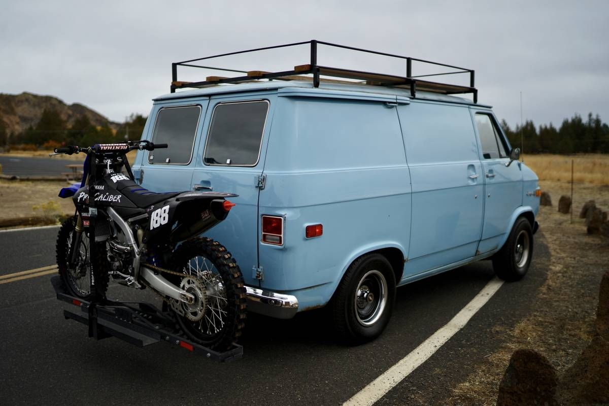 70s Chevy Van With Bike And Roof Rack Chevy Van Gmc Vans Van