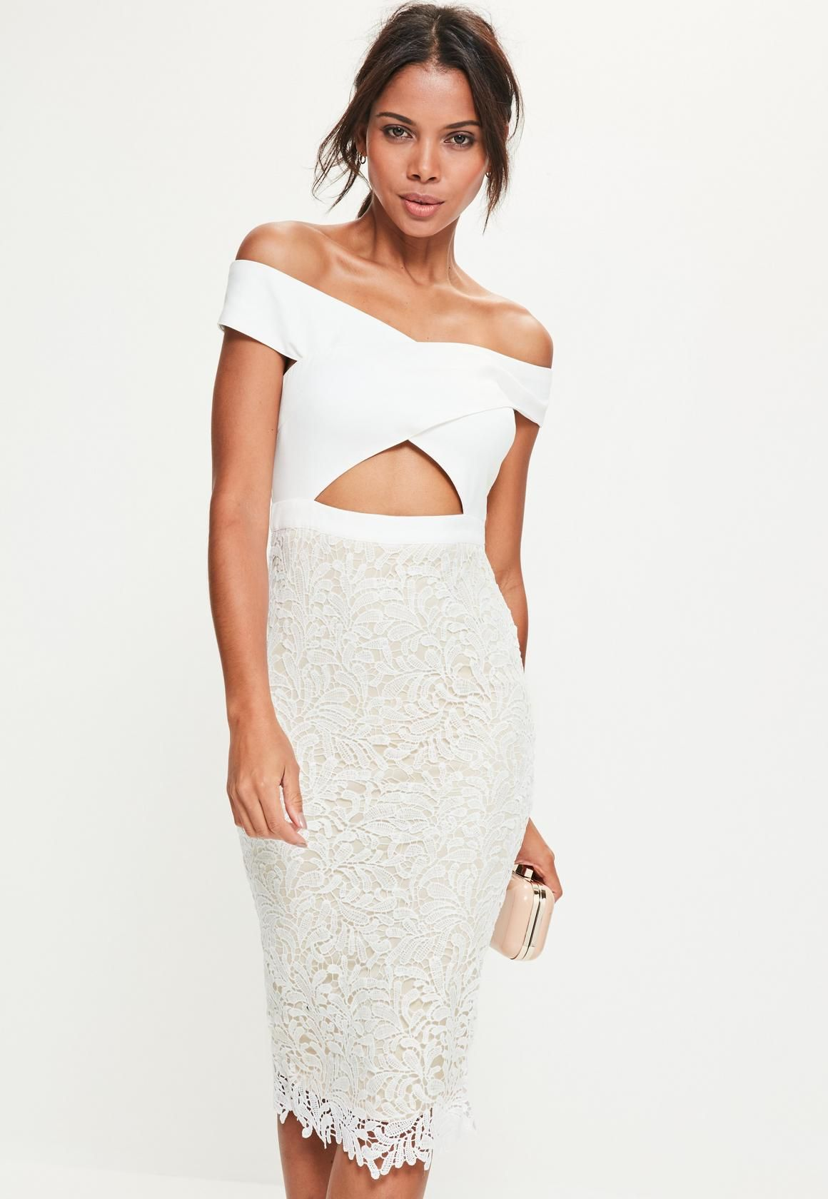 White Lace Piped Detail Frill Hem Midi Dress Pretty Little Thing XZ1md