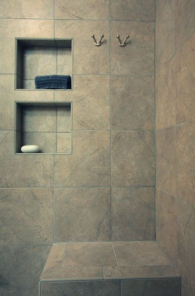 Tile Showers With Bench And Shelves Tile Shower With Recessed Shelves And Bench Recessed Shower Shelf Recessed Shelves Shower Remodel