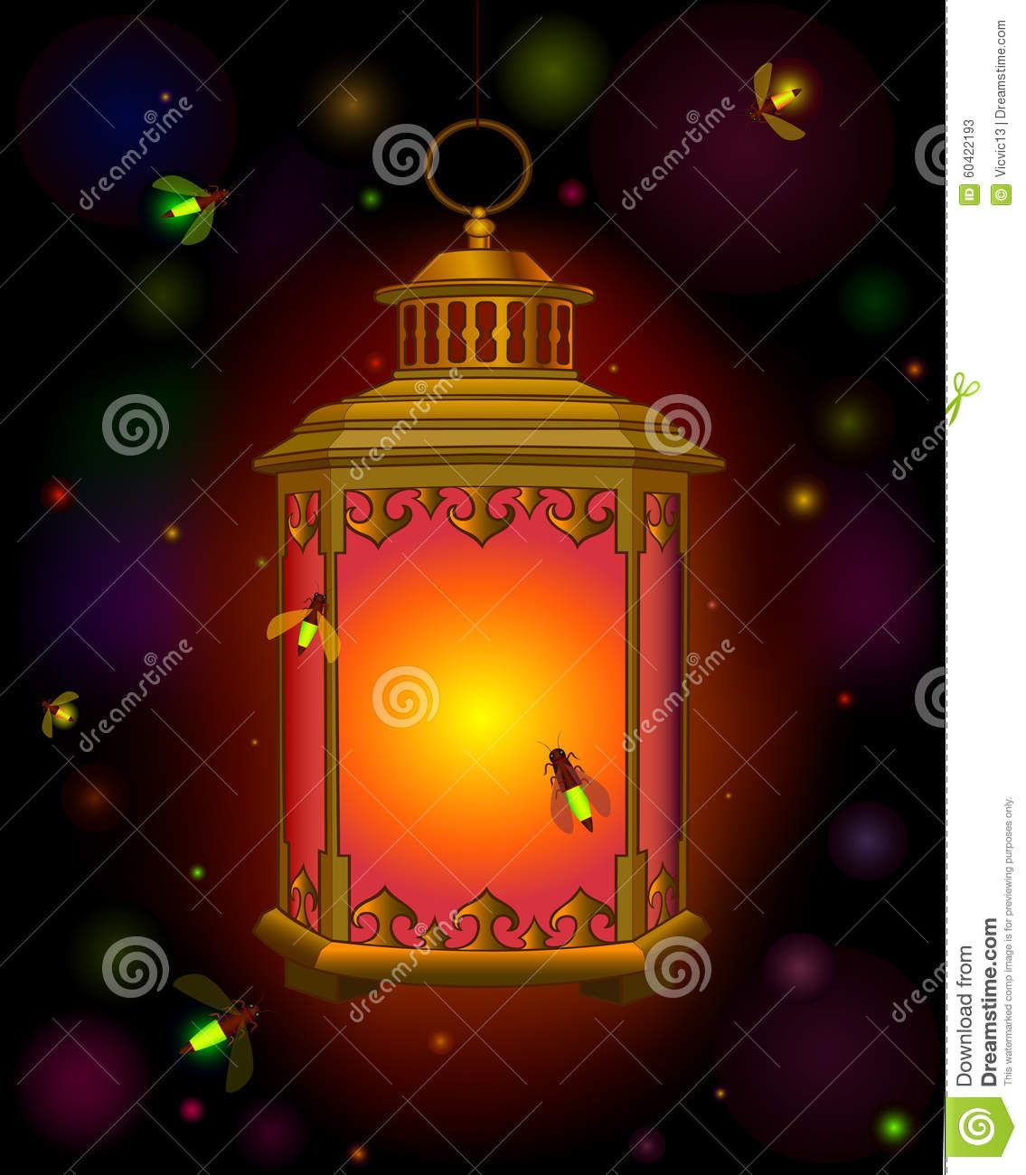 Old Lantern . Orange Light In Dark. Ramadan. Beetles Fireflies ...