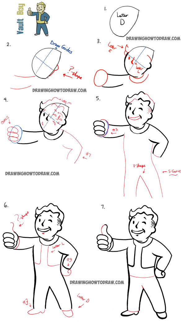How To Draw Fallout Vault Boy With Easy Step By Step Drawing Tutorial How To Draw Step By Step Drawing Tutorials Fallout Art Drawing Tutorial Guy Drawing
