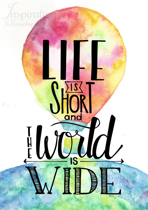 Colorful Watercolor Art With An Inspiring Travel Quote Decoration