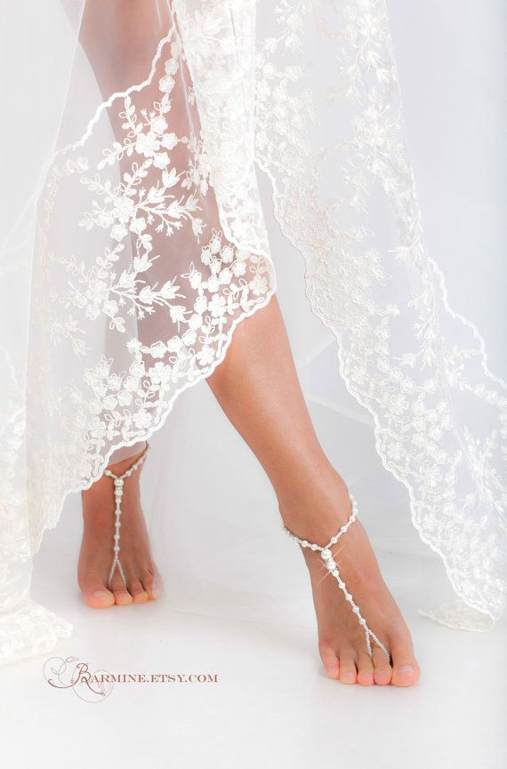 25c6faec3d7cde Etsy  17.03 White Beaded barefoot sandals-Feet jewelry-Beach wedding  Barefoot Sandals-Accessories-Feet Thongs-Footless sandals-Ankle Bracelet- Bridesmaid
