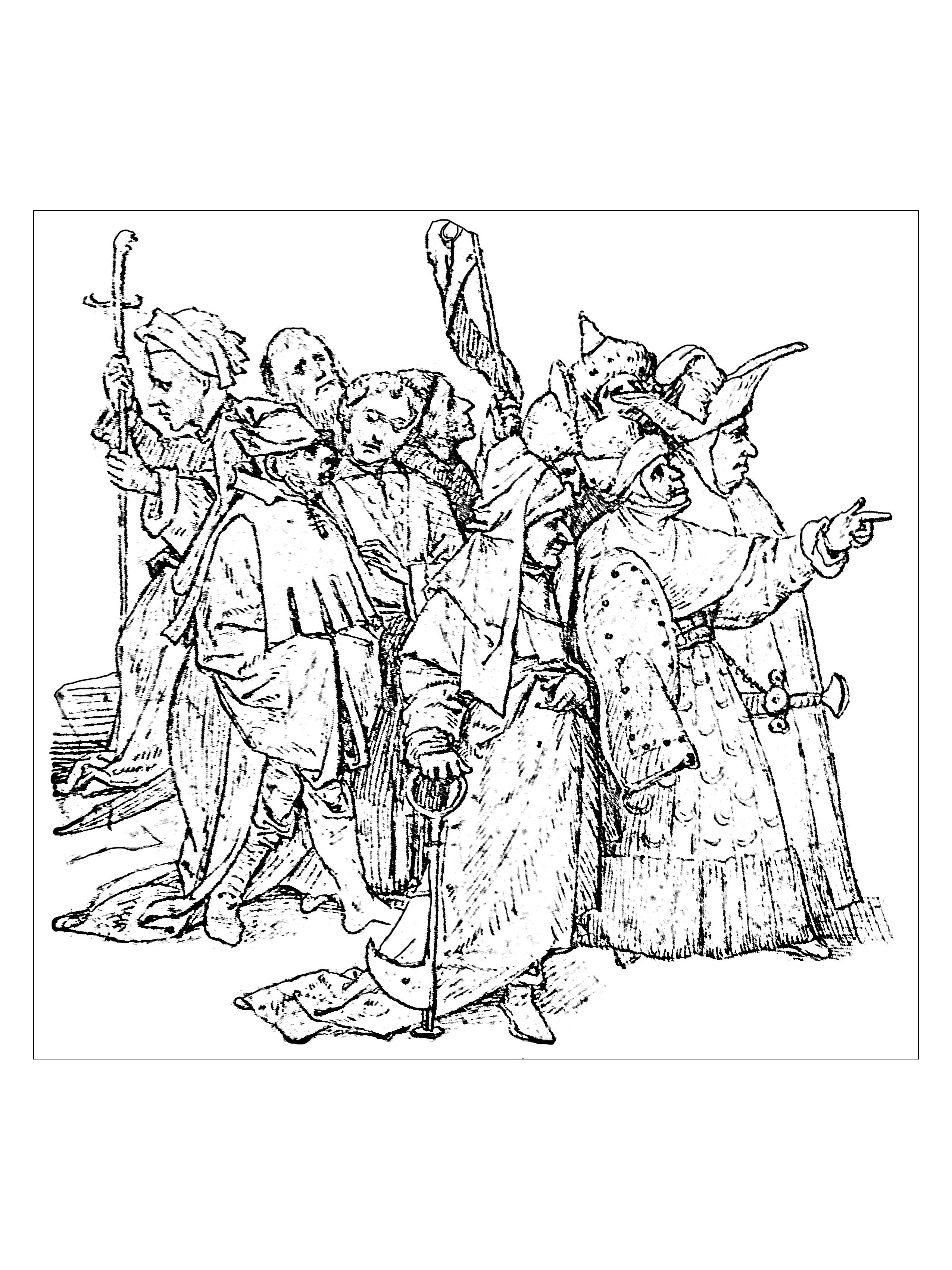 Coloring Page Created From A 1516 Drawing By Jerome Bosch Flemish