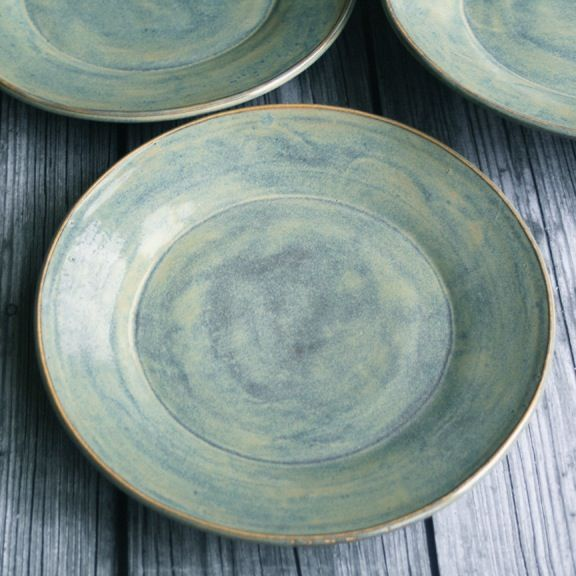 Image of Sage Green Dinnerware Rustic Stoneware Pottery Plates Made in USA & Dinnerware | Pottery plates and Pottery