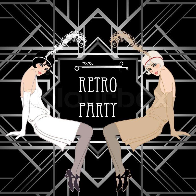 Roaring 20s gangster clip art flapper girl retro party roaring 20s gangster clip art flapper girl retro party invitation design vector illustration stopboris Image collections