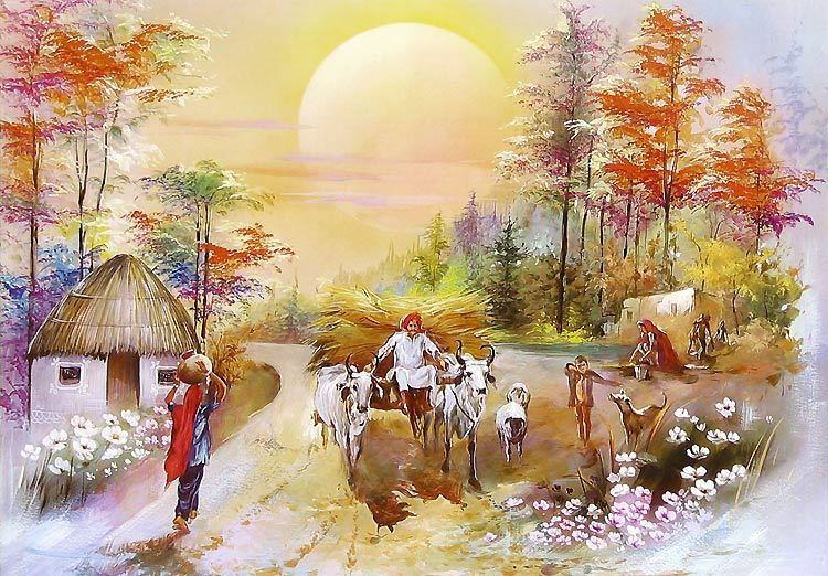 Village Life Paintings Easy indian village life pa...
