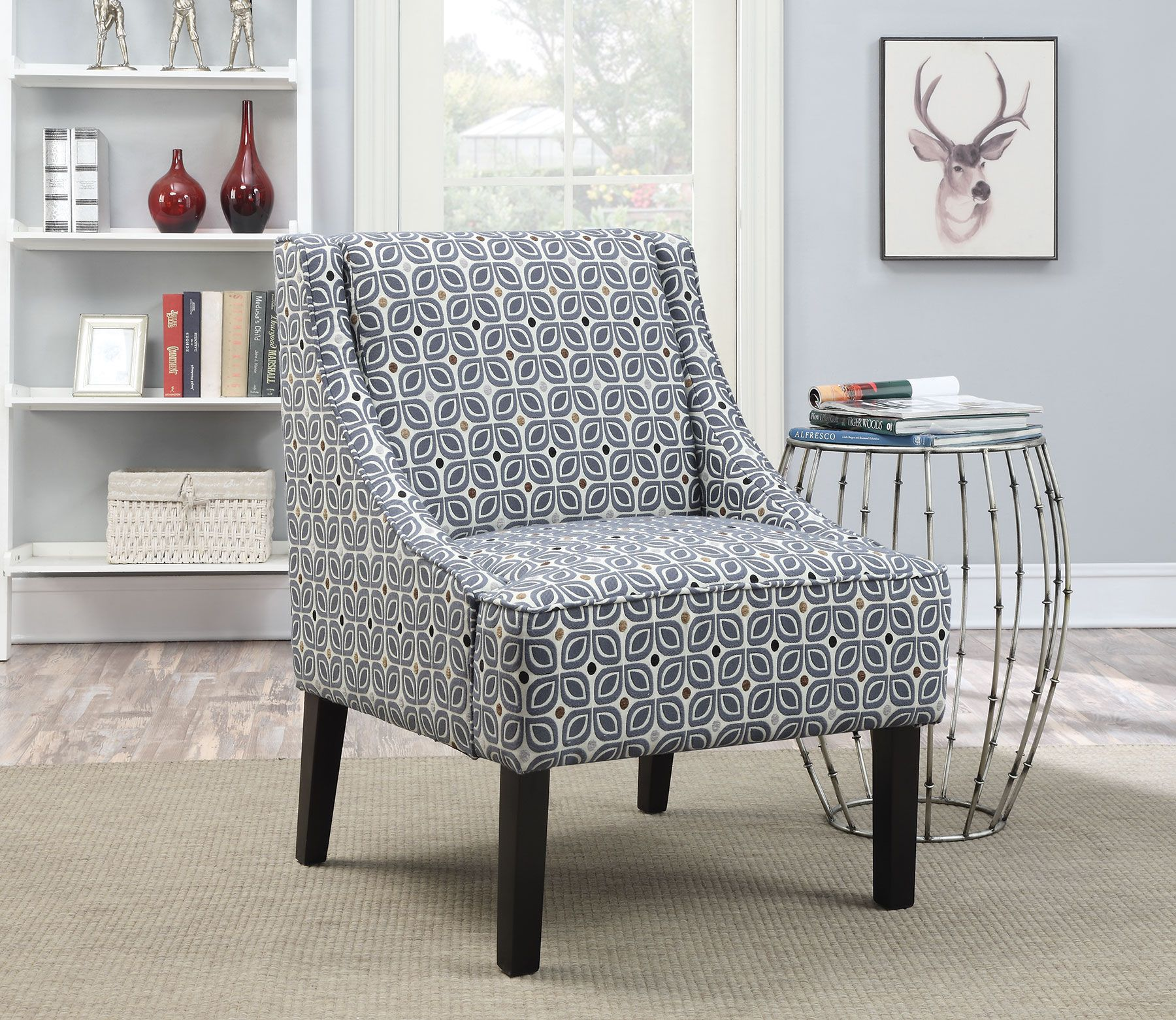 Blue fabric wood cushion back accent chair with track arms