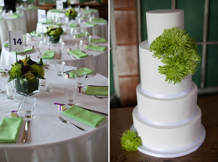 Simple White Wedding Cake With Lime Green Flowers