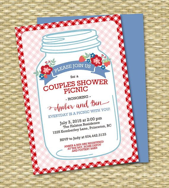 Everyday Is A Picnic With You Mason Jar Couples Shower Picnic