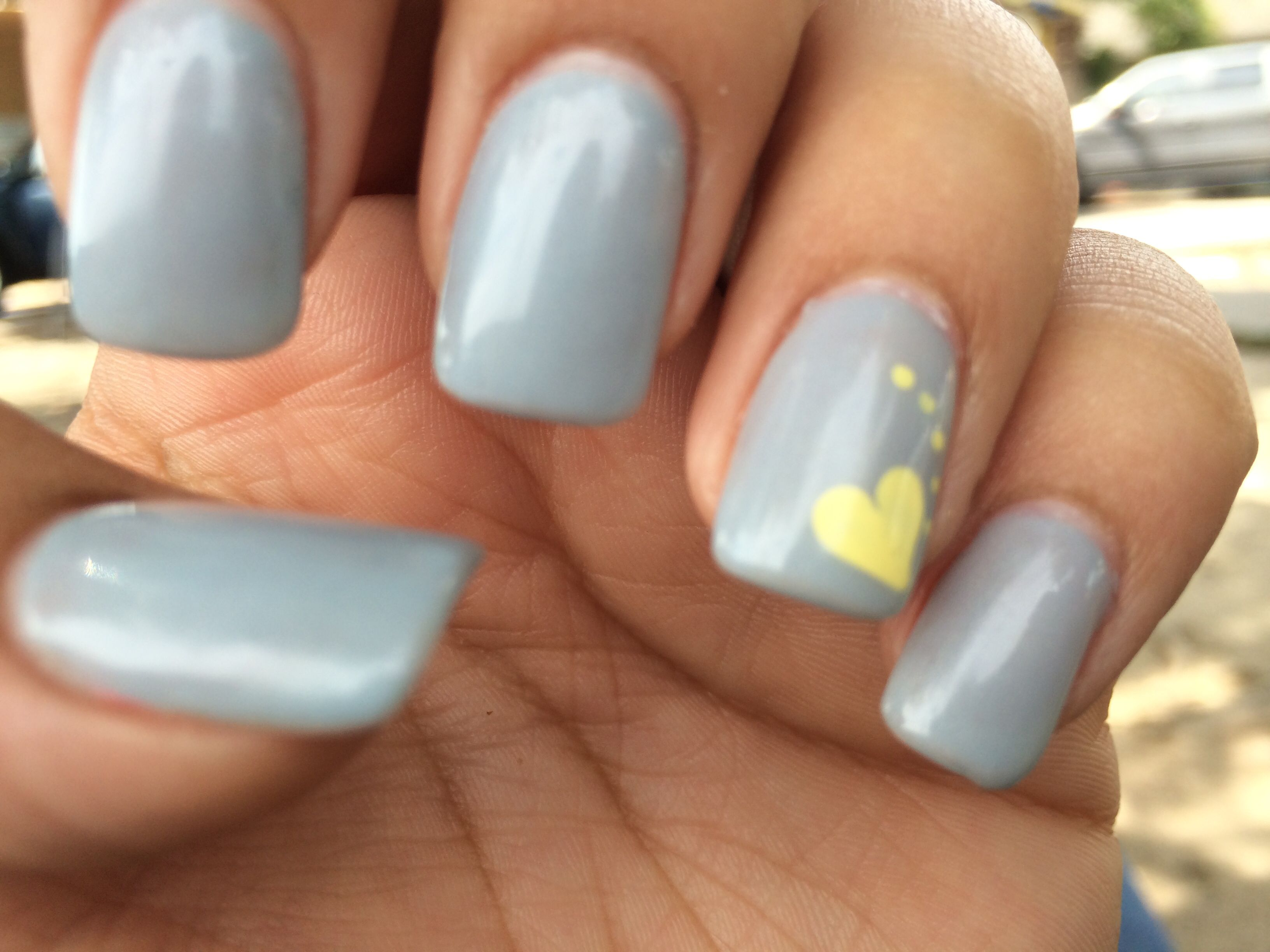 Grey and yellow nails. Shellac on acrylic. Square cut ...