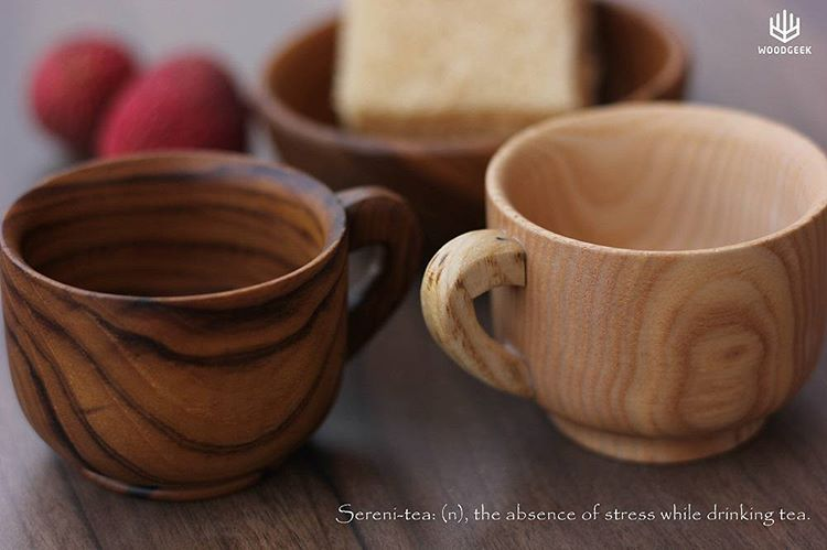 wooden kitchenware- Sereni-tea: (n), the absence of stress while drinking tea. Sneak peek into our wooden tea cups. Featured here are the teak and the white ash tea cups. Coming soon to www.woodgeekstore.com