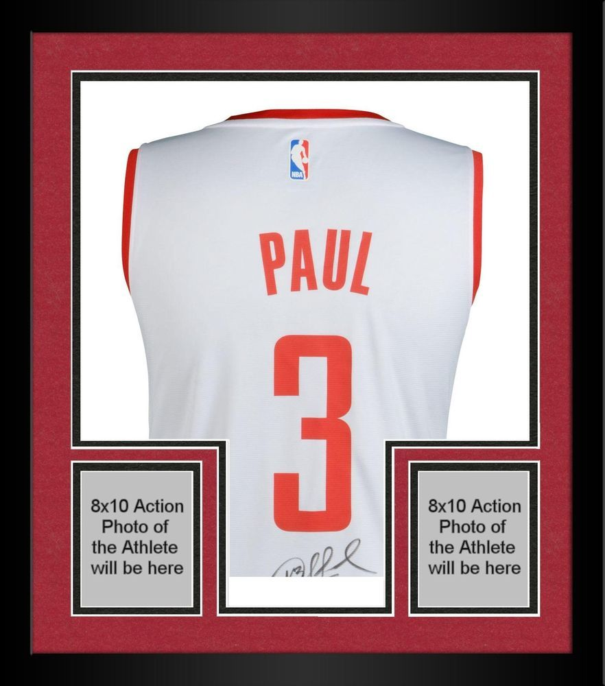017d38459988 Framed Chris Paul Houston Rockets Autographed White Fanatics Replica Jersey