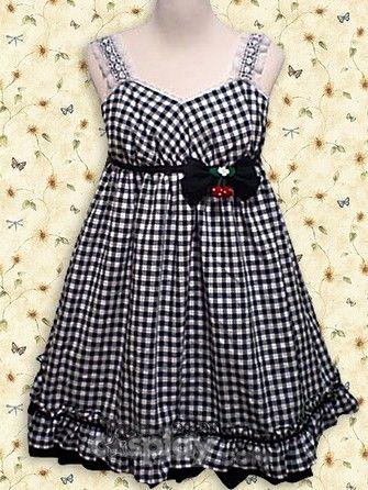 Cotton Black White Gingham Check School Lolita Dress