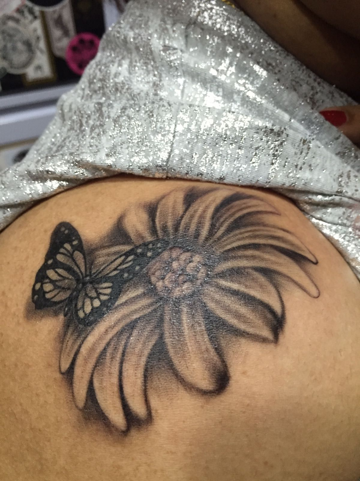 d6141b818 Semi-realistic common daisy with monarch butterfly tattoo.Black and  grey.For further inquiries kindly email Yus Toni. Please click on the  picture for a link ...